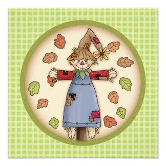 Cute Plaid & Scarecrow Thanksgiving Invitation