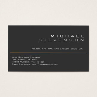 Cute Plain Grey Black Designer Business Card