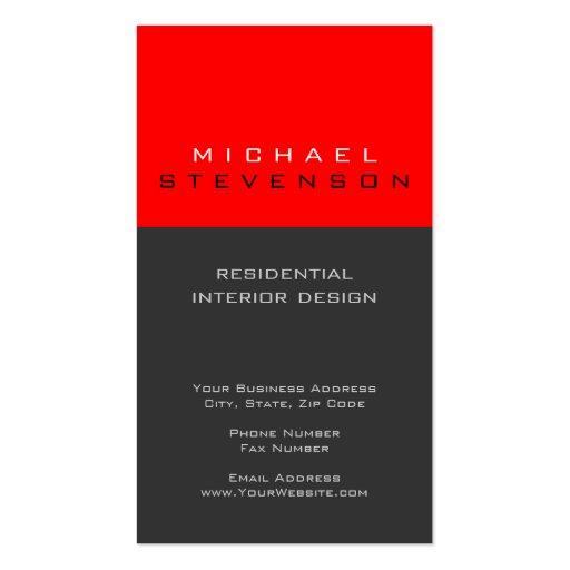Cute Plain Grey Black Red Designer Business Card