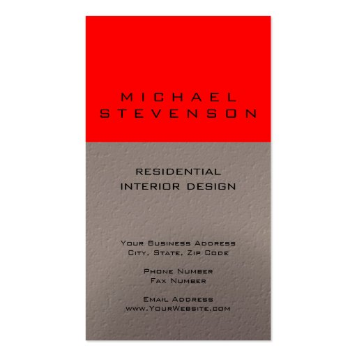 Cute Plain Red Beige Designer Business Card