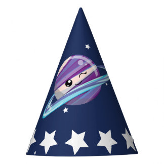 Cute Planet Saturn Space Galaxy Kid Birthday Party Hat