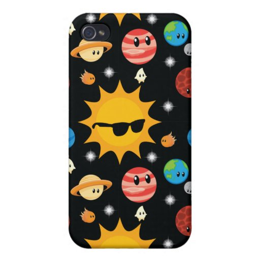 Cute Planets Space Pattern Cover For iPhone 4
