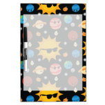 Cute Planets Space Pattern Dry-Erase Whiteboard