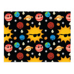 Cute Planets Space Pattern Post Card