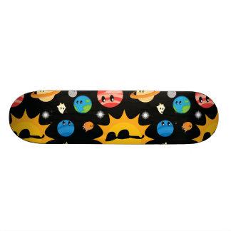 Cute Planets Space Pattern Skateboard Deck