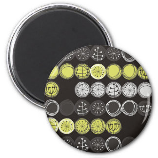 cute plants gray black green in circles on dark 2 inch round magnet