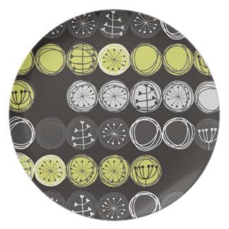 cute plants gray black green in circles on dark melamine plate