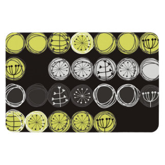cute plants gray black green in circles on dark rectangular photo magnet