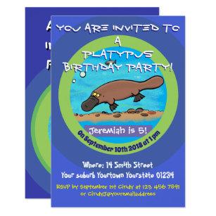 Cute Platypus Cartoon 5 Years Birthday Invitation