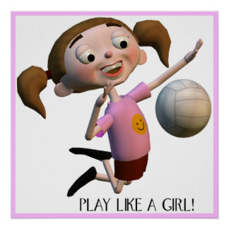 Cute Play Like A Girl Volleyball Poster