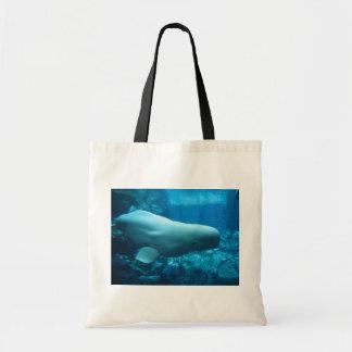 Cute Playful Beluga Whale In Aquarium At Georgia Tote Bag