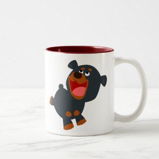 Cute Playful Cartoon Baby Rottweiler Two-Tone Coffee Mug