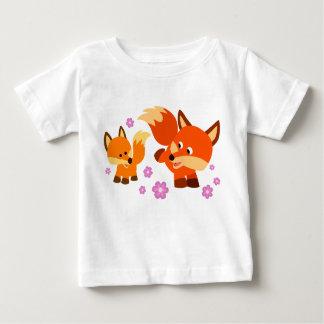 Cute Playful Cartoon Foxes Baby T-Shirt