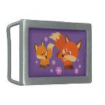 Cute Playful Cartoon Foxes Belt Buckle