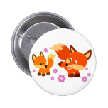 Cute Playful Cartoon Foxes Button Badge