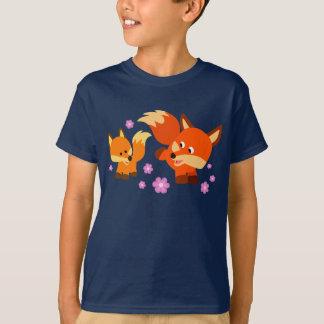 Cute Playful Cartoon Foxes Children T-Shirt