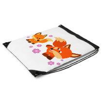 Cute Playful Cartoon Foxes Drawstring Backpack