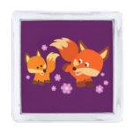 Cute Playful Cartoon Foxes Lapel Pin