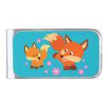 Cute Playful Cartoon Foxes Money Clip