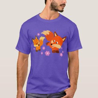 Cute Playful Cartoon Foxes T-Shirt