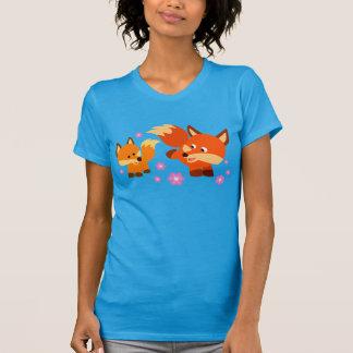 Cute Playful Cartoon Foxes Women T-Shirt