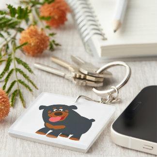 Cute Playful Cartoon Rottweiler Acrylic Keychain