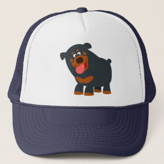 Cute Playful Cartoon Rottweiler Hat