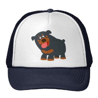 Cute Playful Cartoon Rottweiler Hat