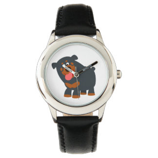 Cute Playful Cartoon Rottweiler Watch