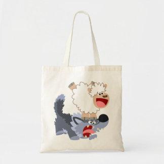 Cute Playful Cartoon Sheep and Wolf Bag