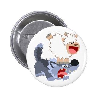 Cute Playful Cartoon Sheep and Wolf Button Badge