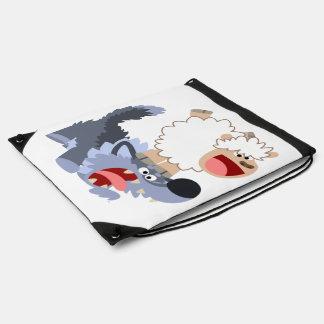 Cute Playful Cartoon Sheep and Wolf Drawstring Bag