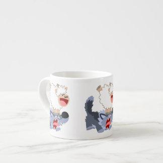 Cute Playful Cartoon Sheep and Wolf Espresso Mug