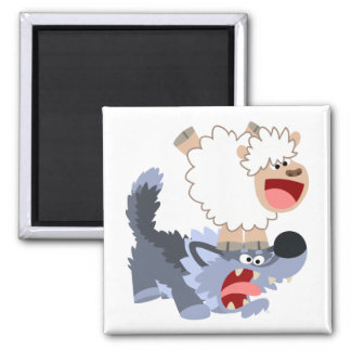 Cute Playful Cartoon Sheep and Wolf Magnet