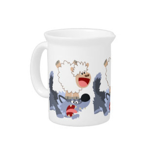 Cute Playful Cartoon Sheep and Wolf Pitcher