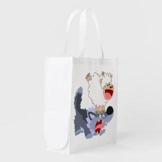 Cute Playful Cartoon Sheep and Wolf Reusable Bag