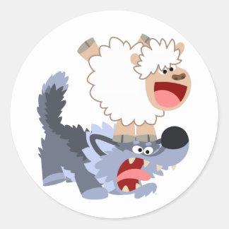 Cute Playful Cartoon Sheep and Wolf Sticker