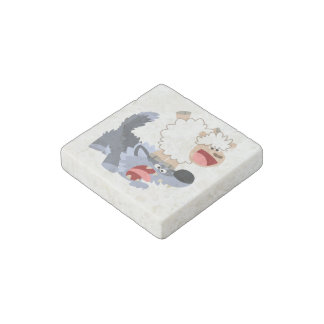 Cute Playful Cartoon Sheep and Wolf Stone Magnet