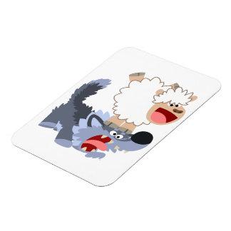 Cute Playful Cartoon Sheep & Wolf Flexible Magnet