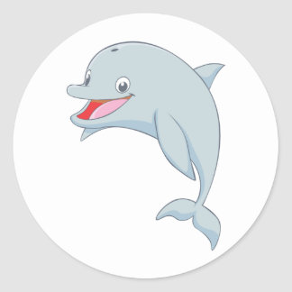 Cute Playful Dolphin Cartoon Round Stickers