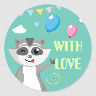 Cute playful funny raccoon with balloons classic round sticker