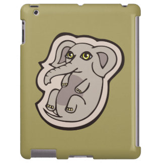 Cute Playful Gray Baby Elephant Drawing Design