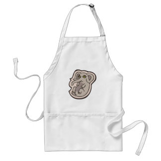 Cute Playful Gray Baby Elephant Drawing Design Adult Apron