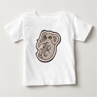 Cute Playful Gray Baby Elephant Drawing Design Baby T-Shirt