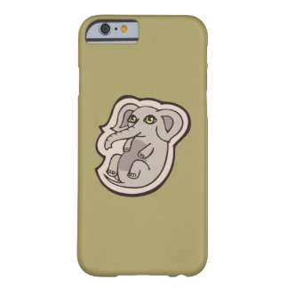 Cute Playful Gray Baby Elephant Drawing Design Barely There iPhone 6 Case