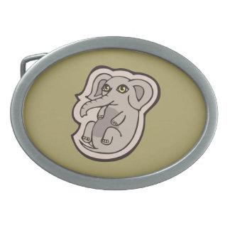 Cute Playful Gray Baby Elephant Drawing Design Belt Buckle