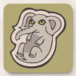 Cute Playful Gray Baby Elephant Drawing Design Beverage Coaster