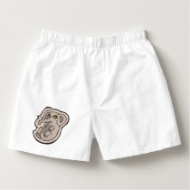 Cute Playful Gray Baby Elephant Drawing Design Boxers