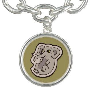 Cute Playful Gray Baby Elephant Drawing Design Bracelet
