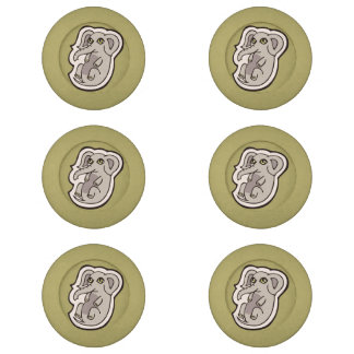 Cute Playful Gray Baby Elephant Drawing Design Button Covers